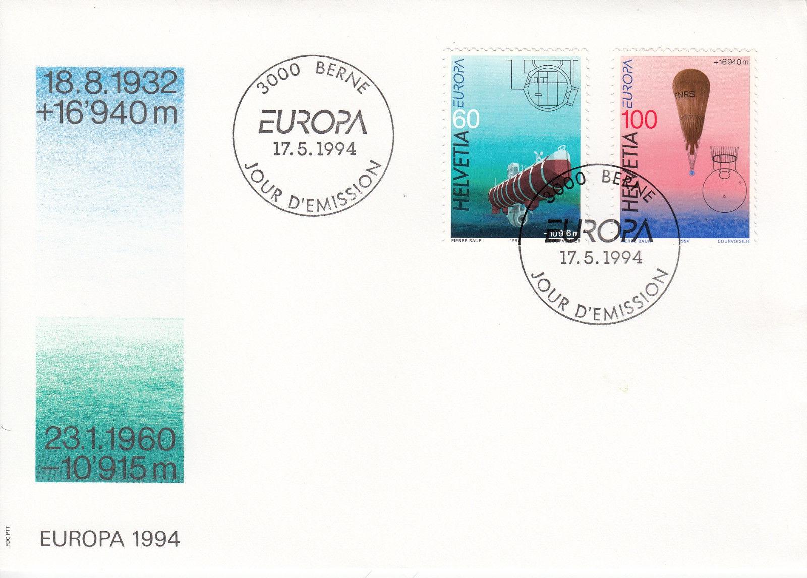 Switzerland - Scott #946-947 (1994) first day cover