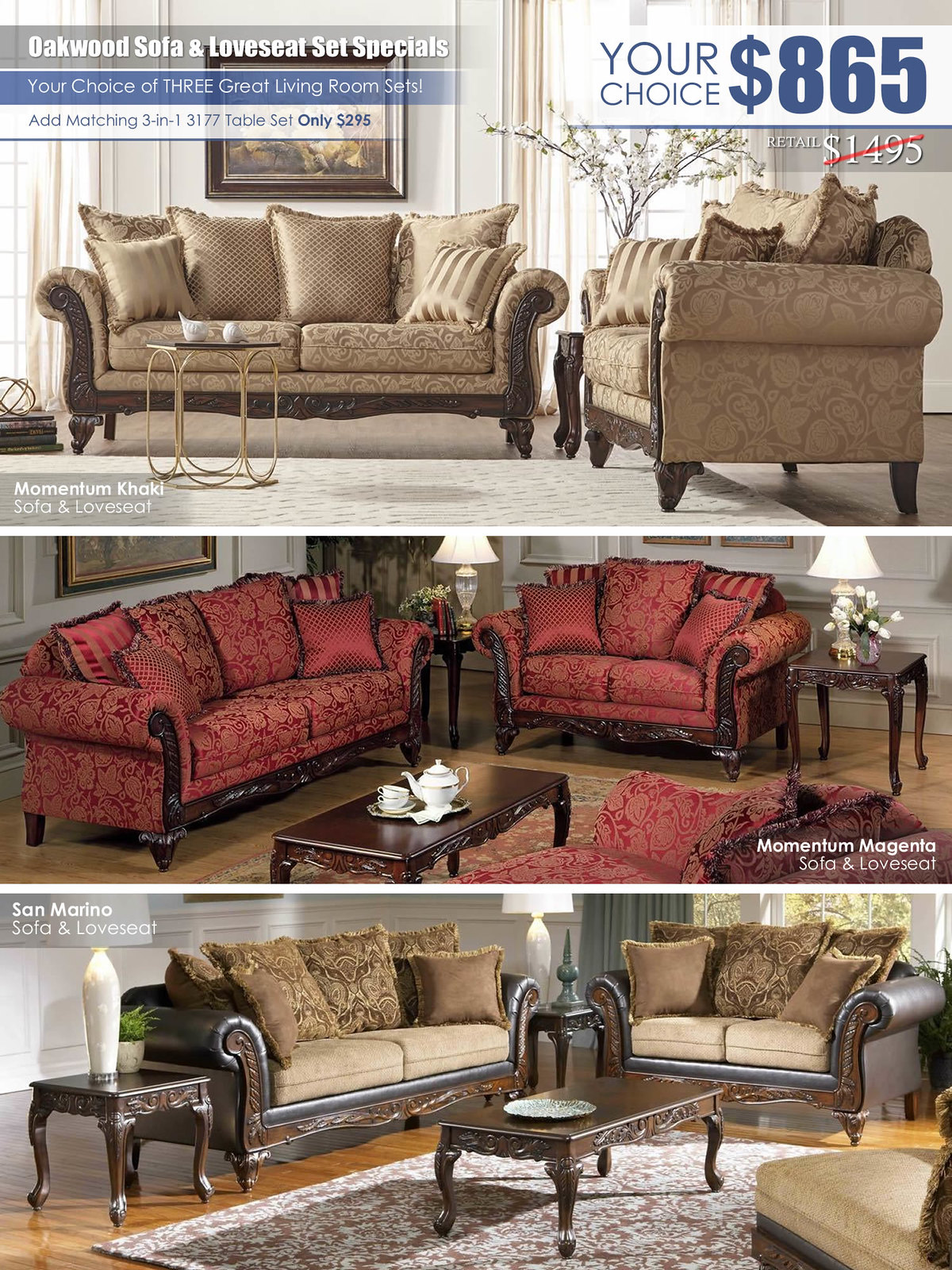 Oakwood Sofa & Loveseat Set Specials_2019