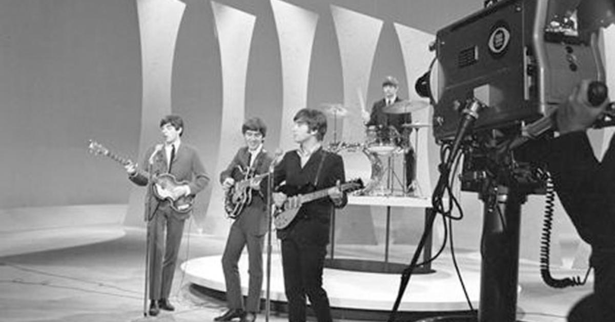The Beatles rehearsr for the CBS cameras prior to their first appearance on the Ed Sullivan Show, February 8, 1964.