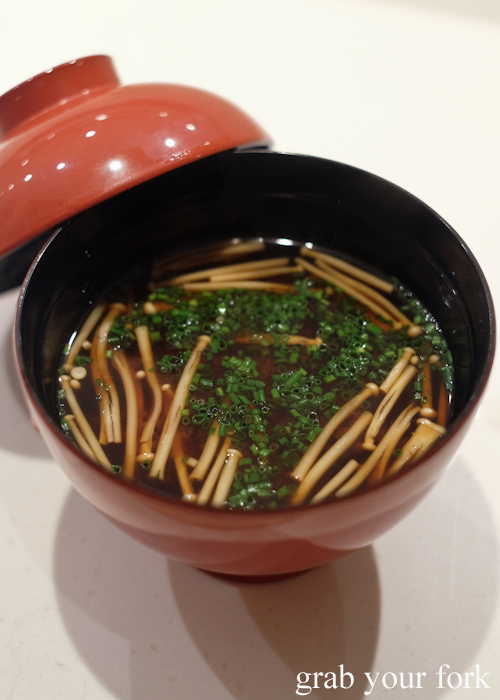 Red miso soup served at the omakase by Masuya Sydney