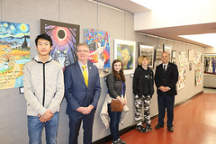 Rep. Ackert and Sen. Champagne with Coventry High School students with their artwork displayed at the Capitol