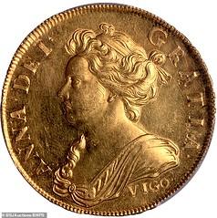1703 VIGO Five Guinea obverse
