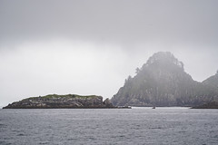 Rugged coastline along Kenai Fjords National Park, on a very foggy day