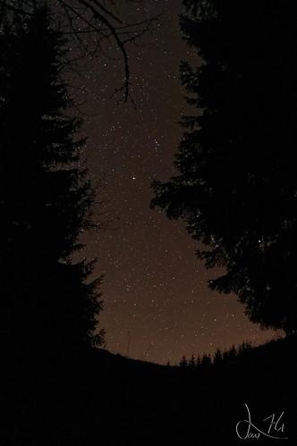 Ciel étoilé au détour d'un chemin