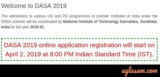 DASA Application form notice