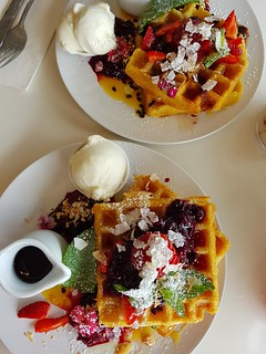 Mixed Berry and Strawberry Waffles at Ginger & Rose
