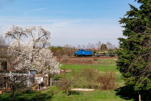 346 025 mit einem leeren Autozug (Glauchau-Mosel) am 29.03.2019 in Gesau