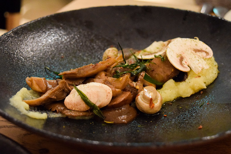 Confit Mushrooms with Chili, Polenta and Fermented Black Vinegar at Rovi, Fitzrovia