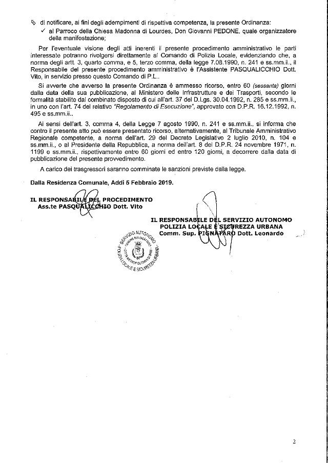 Noicattaro. ordinanza 2