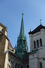 Bell tower @ Cathédrale Saint-Pierre @ Old town @ Geneva @ Via Gebennensis from Geneva to Col du Mont Sion