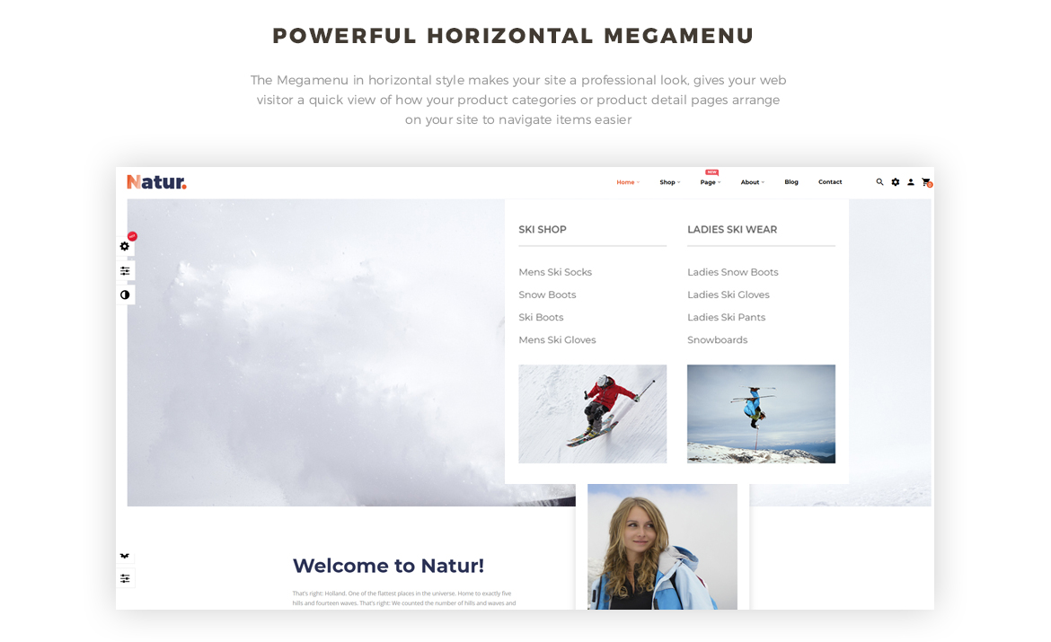 powerful mega menu- Leo Natur - Sports, Outdoors Gear and Fashion