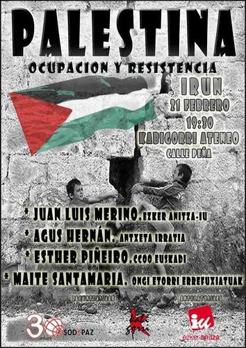 Cartel Charla Palestina en Kabigorri