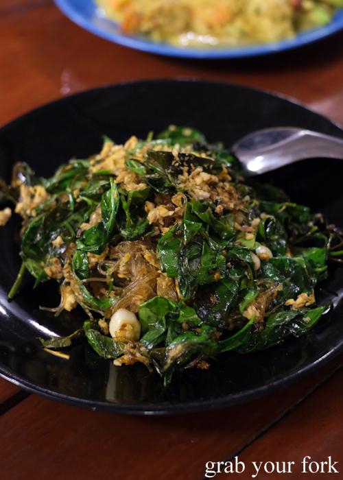 Stir fried baegu leaves at Baan Khao Lak Seafood Restaurant in Thailand