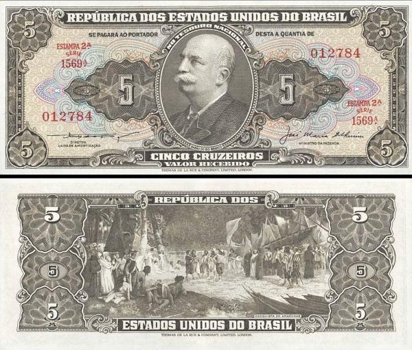 5 cruzeiros Brazília 1953-59, P158