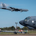 Barksdale Airmen position a tow bar onto a B-52 Stratofortress for a parking maneuver during Global Thunder 2019 at Barksdale Air Force Base, La., Nov. 3, 2018. Global Thunder is an annual U.S. Strategic Command (USSTRATCOM) exercise designed to provide training opportunities to test and validate command, control and operational procedures. The training is based on a notional scenario developed to drive execution of USSTRATCOM and component forces' ability to support the geographic combatant commands, deter adversaries and, if necessary, employ forces as directed by the President of the United States.  (U.S. Air Force photo by Senior Airman Philip Bryant)