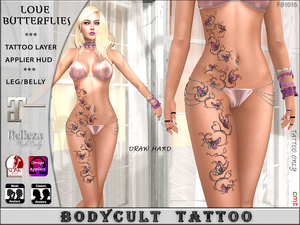 BodyCult Tattoo Love Butterflies Color LegBelly FB1016