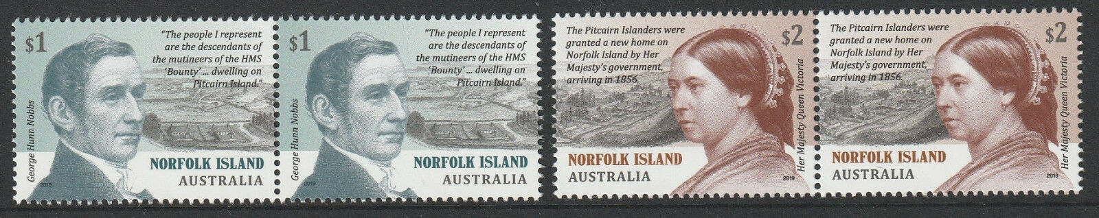 Norfolk Island - Pitcairn Settlement (January 22, 2019) pairs from sheet stamps