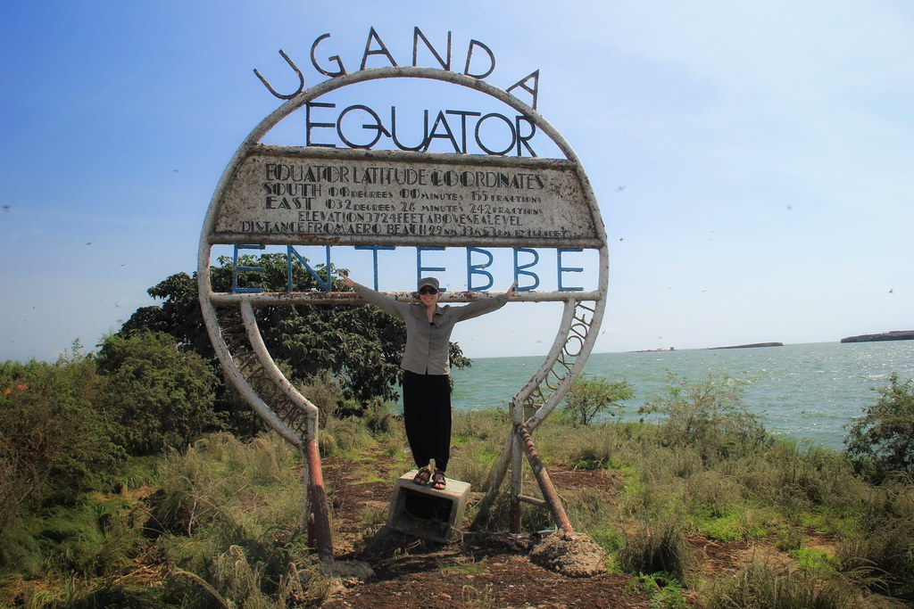 Equator sign, Lwaji Island, Lake Victoria, Uganda