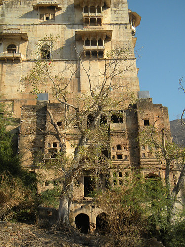 The multi-layered wall of Bundi Fort in the hills above Bundi, India