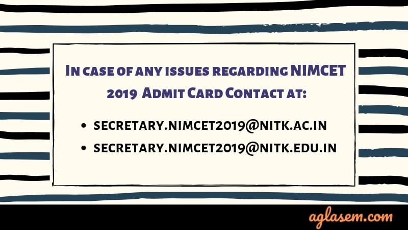NIMCET 2019 Admit Card