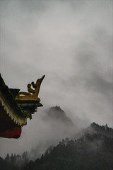 Pagoda and Hill in Mist