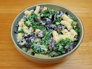 Strozzapretti with Cauliflower Mornay, Mushrooms, and Kale