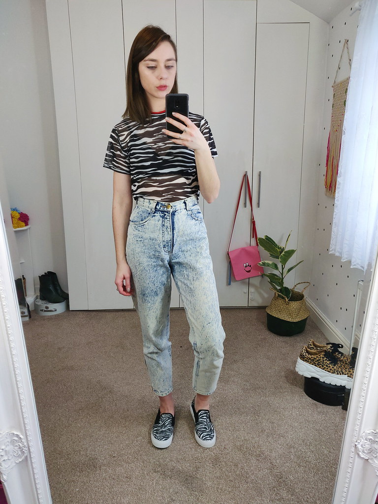 Mesh Zebra Tee, Mom Jeans and Zebra print pumps