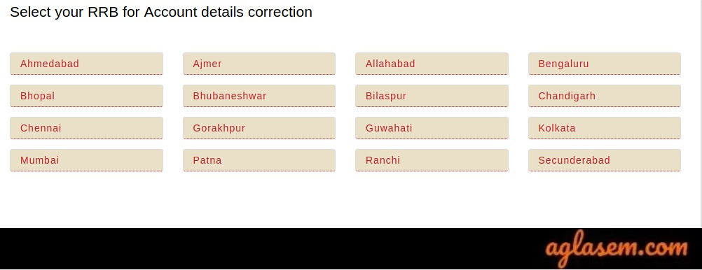 RRB Group D Choose Zone for Account Details Correction