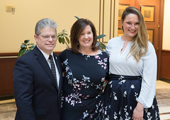 David Krechevsky, Public Policy & Economic Development Director for the Waterbury Regional Chamber, Cindy Zoldy, Executive Director of the Smaller Manufacturers Association and State Rep. Stephanie Cummings posed for a photo after a recent meeting of the legislature's manufacturing caucus.