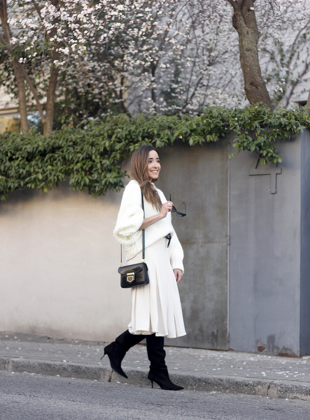 pink pale midi skirt white sweater black boots givenchy bag street style outfit 201912