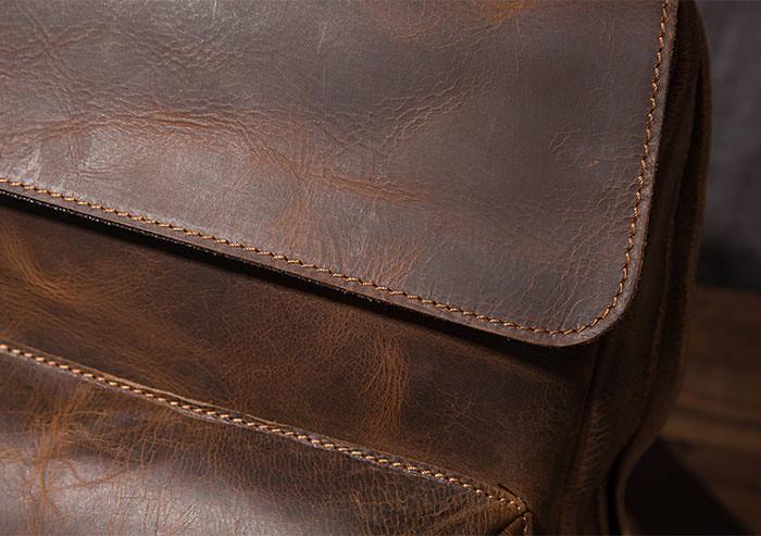 Crazy Horse Leather Backpack, Laptop Bag, School Bag, Shoulder Bag, Gift