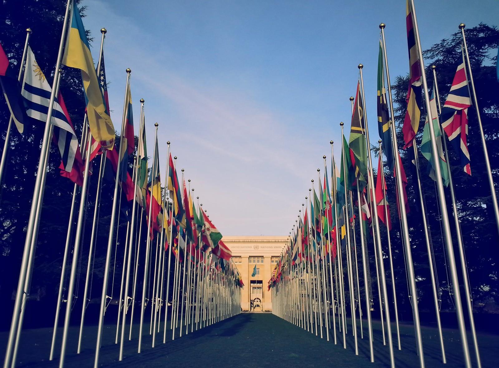 16-01-28 (Geneva) Flags at Palace of Nations.