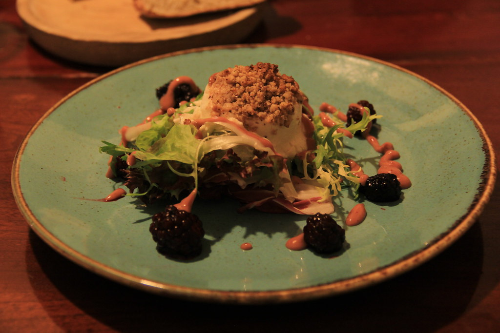 Baked goats cheese starter, The Masons Arms, Branscombe