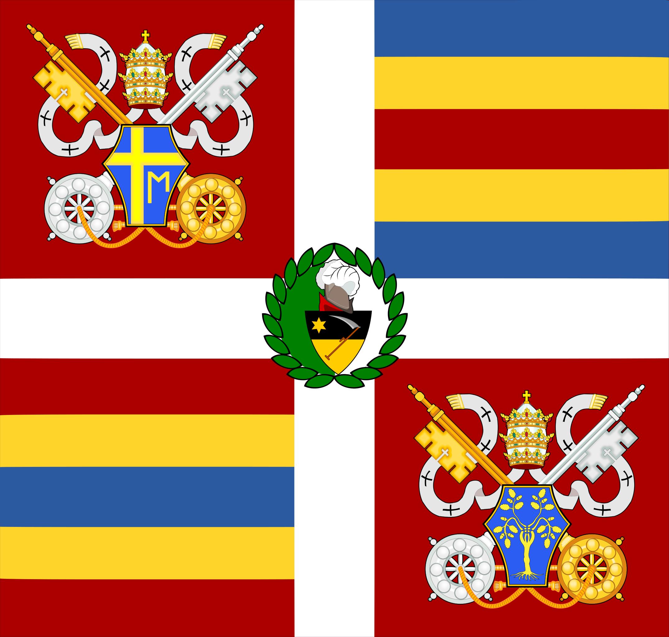 The banner of the Swiss Guard under Pope John Paul II and commander Elmar Mäder (2002–2005)