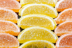 Marmalade in shape of citrus fruits wedges