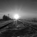 Icy Morning Down The Rails BW
