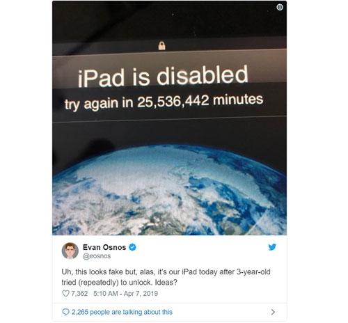 Bé ba tuổi nhập sai mật khẩu, iPad bị khóa 48 năm