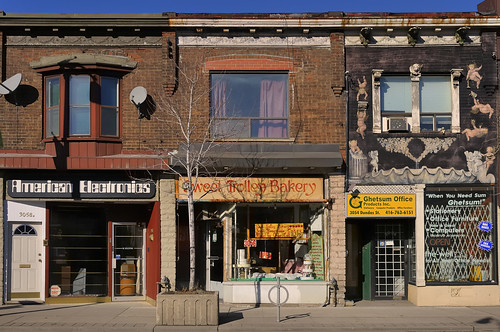 Storefronts and apartments, Dundas Street West, The Junction, Toronto