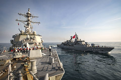 USS Donald Cook (DDG 75) participates in a simulated replenishment-at-sea with the Turkish navy.
