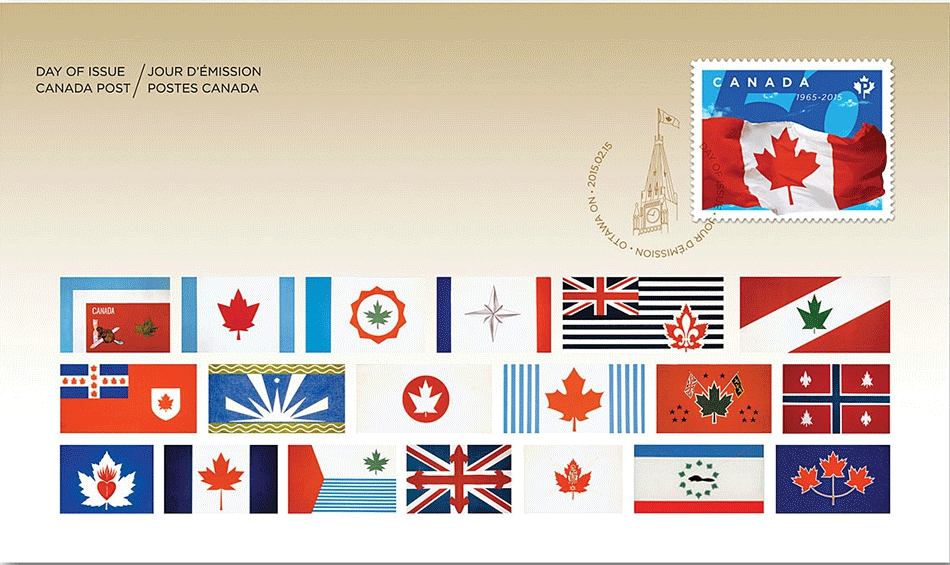 Canada - Scott #2807 (2015) first day cover; the cachet features rejected designs from the selection committee circa 1964-1965