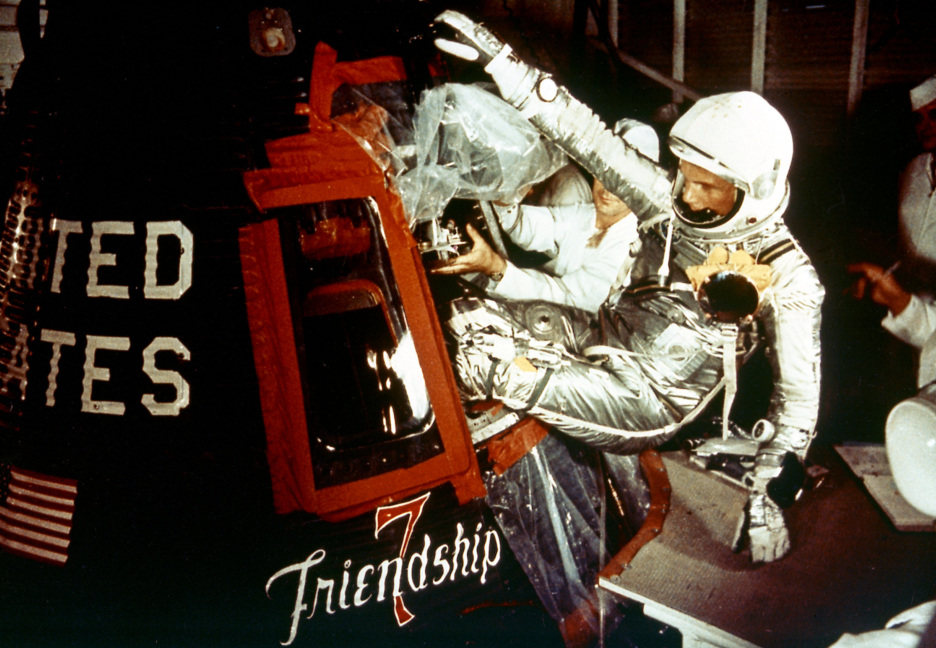 Astronaut John Glenn enters the Mercury spacecraft, Friendship 7, prior to the launch of MA-6 on February 20, 1962 and became the first American who orbited the Earth. The MA-6 mission was the first manned orbital flight boosted by the Mercury-Atlas vehicle, a modified Atlas ICBM (Intercontinental Ballistic Missile), lasted for five hours, and orbited the Earth three times.