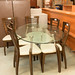 Large oval glass table with 6 solid wood chairs E325 set