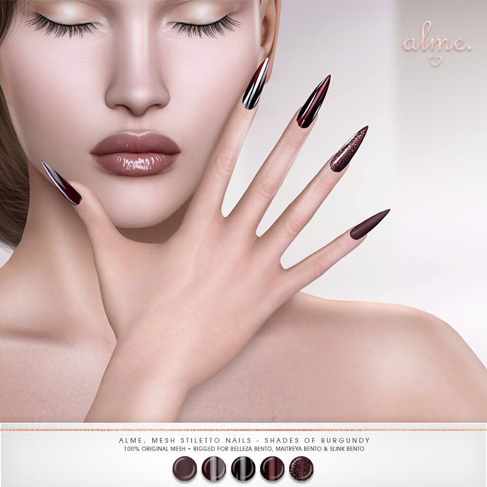 "Alme. for Kinky Event ""Alme Mesh Stiletto nails//Shades of Burgundy"" ♥ - TeleportHub.com Live!"