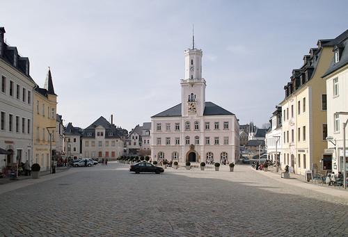 Schneeberg - Marktplatz mit Rathaus