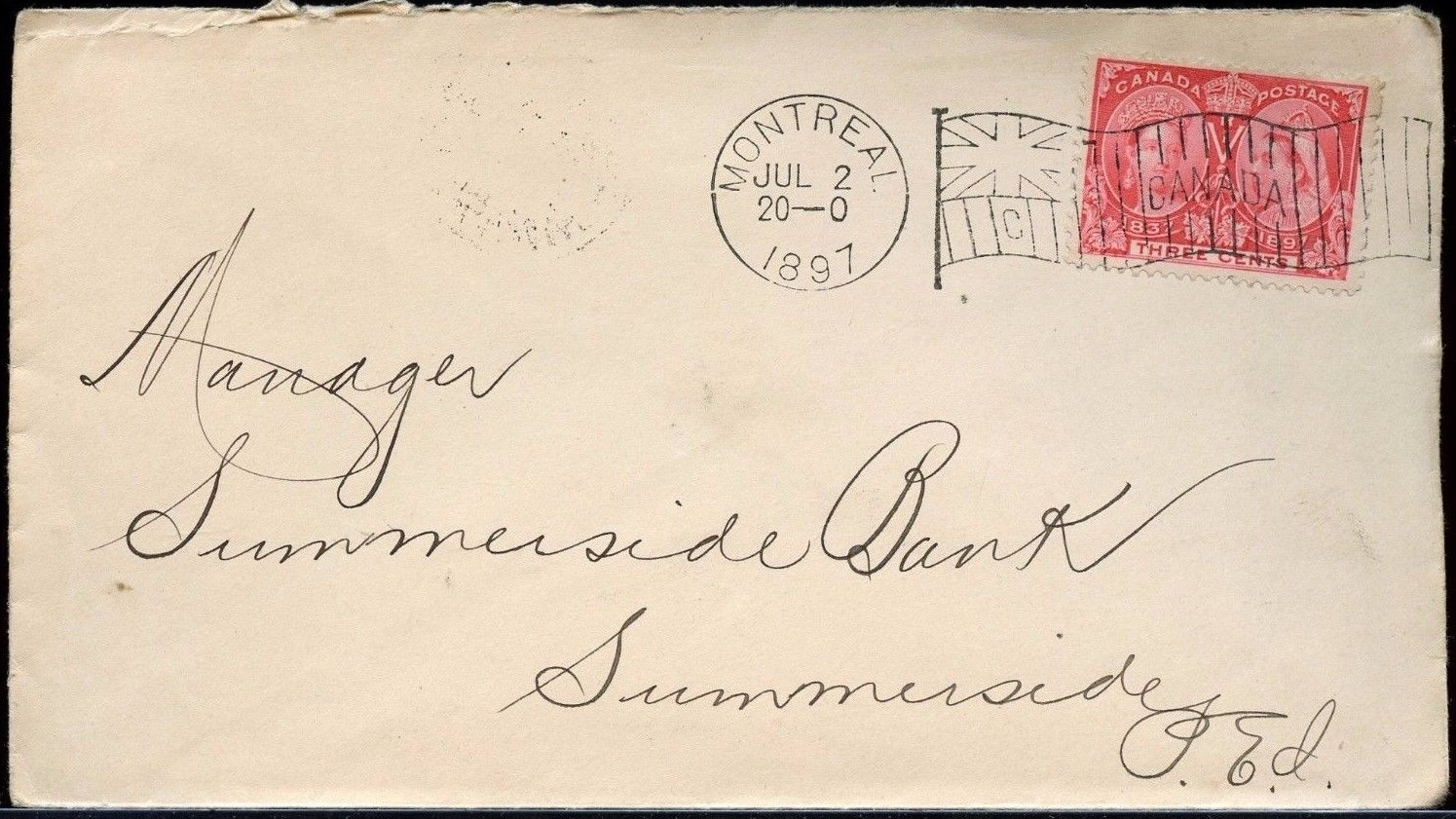 Cover mailed from Montreal on July 2, 1897, bearing a Canadian flag postmark.
