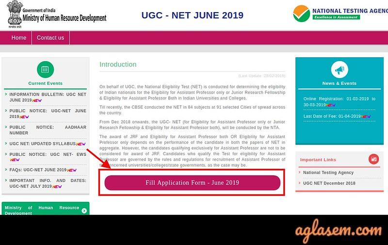 UGC NET 2019 - Application Form