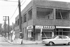 Old Hicksville NY 1967 Engler's bakery,Arthur Murray dance instruction was on top and Sweet Shop to the right.