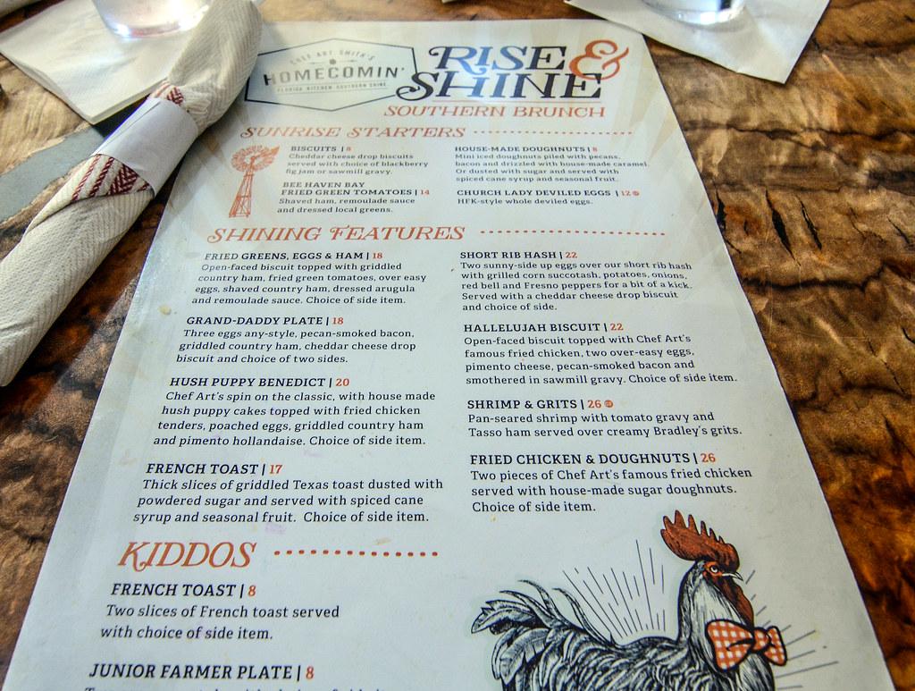 Homecomin' menu