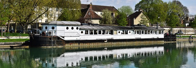 The 'La Barge' restaurant on the canal in Troyes, France
