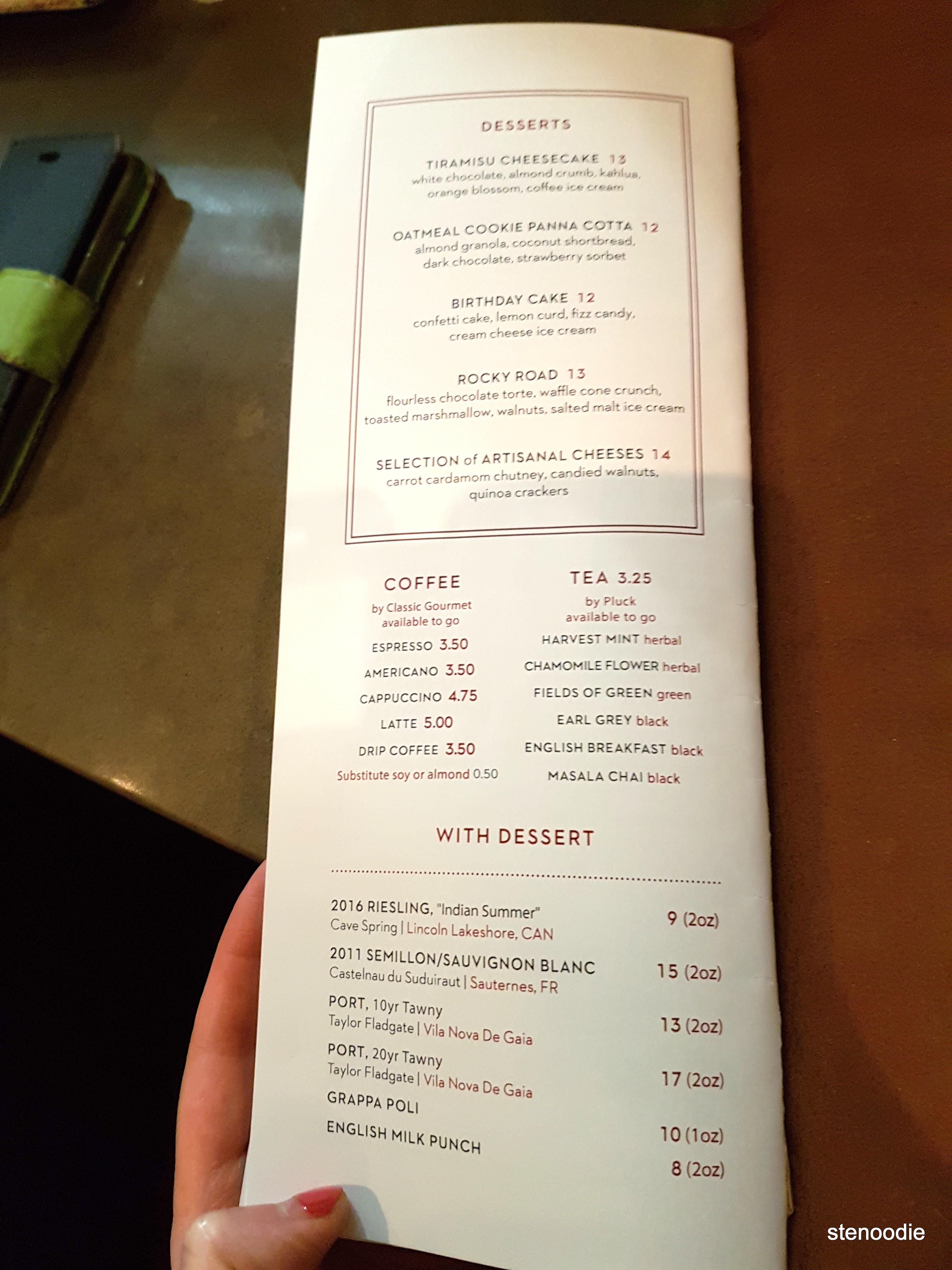 Richmond Station desserts and drinks menu